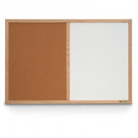 "48 x 36"" Hard Wood Framed Dry Erase and Cork Combo Board"