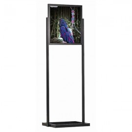 "Eco Floor Stand 22""w x 28""h Poster Size Black, 1 Tier, Double Sided"