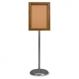 Chrome Base/ Wood Frame Pedestal Corkboard