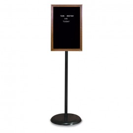 Black Base/ Wood Frame Pedestal Letterboard