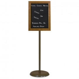 Bronze Base/ Wood Frame Pedestal Letterboard