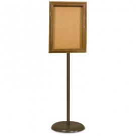 Bronze Base/ Wood Frame Pedestal Corkboard