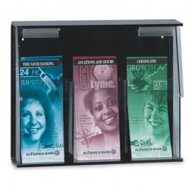 "14 1/8 x 11 3/4"" x 2 7/8"" Three Pocket Pamhplet Dispenser"
