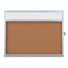 "48 x 36"" Slim Style Radius Framed Corkboard w/ Header"